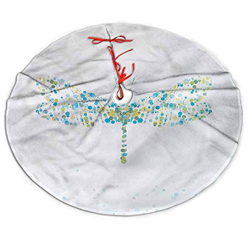 Lyzelre 3D Printed Dragonfly Christmas Tree Skirt, Dragonfly with Dots Tree Mats for Classic Xmas Tree Decorations Holiday Party Home Office Decoration,36 Inch