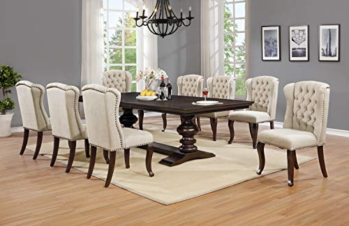Best Quality Furniture Beige Linen Look Upholstered Cappuccino Dining (9 Piece Set)