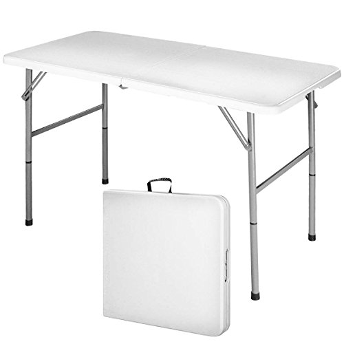 COSTWAY Campingtisch Klapptisch Falttisch Gartentisch Koffertisch Biertisch Balkontisch Flohmarkttisch belastbar bis 150kg, Esstisch Weiß (S)