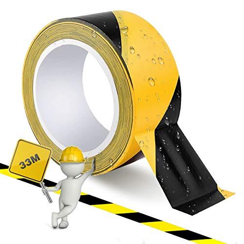 Bodenmarkierungsband Schwarz&Gelb - 50 mm x 33 m Boden Markierungsband Absperrband Sicherheitsband, Warnband selbstklebend Signalklebeband fur rechtsweisend, Treppen Schritte