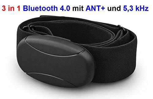 GO-SHOPPING24 BRUSTGURT Bluetooth mit ANT+ 5 kHz uncodiert für RUNTASTIC, Wahoo, Strava App, für Android wie Samsung S3 / S4 / S5 / S6 / S7 / S8 / S9 / S10, Sony, LG, HTC, Google Herzfrequenzmesser