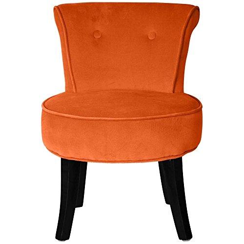 Petit fauteuil crapaud velours orange Louis