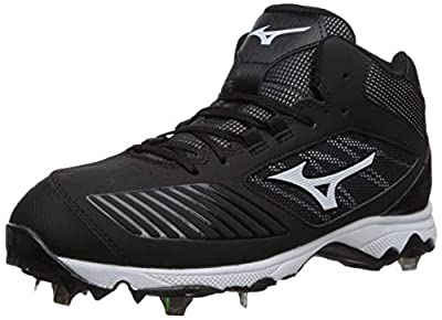Mizuno 320574.9000.05.0600 9-Spike Advanced Sweep 4 Mid Womens Metal Softball Cleat Black-White (9000) 6 (0600)