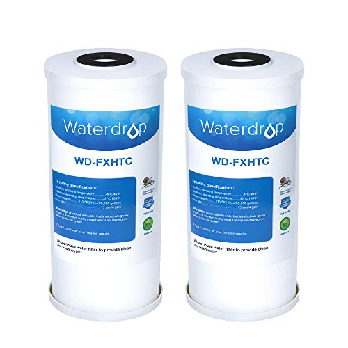 """5 Micron 10"""" x 4.5"""" Whole House Big Blue Sediment and Activated Carbon Water Filter Replacement Cartridge for GE FXHTC, GXWH40L, GXWH35F, GNWH38S, Pack of 2"""