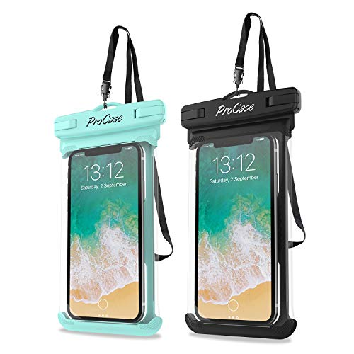 "Procase Universal Waterproof Case Cellphone Dry Bag Pouch for iPhone 11 Pro Max Xs Max XR XS X 8 7 6S Plus, Galaxy S20 Ultra S20+ S10 S9 S8 +/Note 10+ 9, Pixel 4 XL up to 6.9"" - 2 Pack, Green/Black"