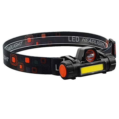 LED Headlamp Magnetic USB Rechargeable Headlight with XPE Spotlight COB Floodlight 18650 Battery Included Ramping Modes and Adjustable Degree for Camping, Hiking, Running, Outdoors.