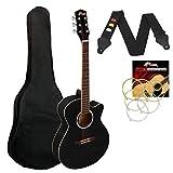 Tiger ACG1-BK Guitarra acústica de cuerpo pequeño con cuerdas de acero para principiantes - Negro