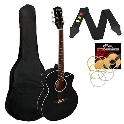 Tiger Guitarra Acústica Cuerpo Pequeño para Guitarra Principiante - Negro Completo