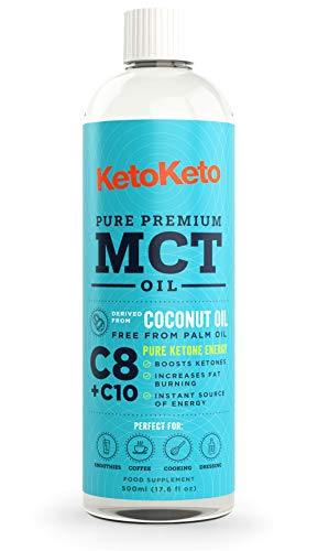 Keto Keto Premium Pure C8 + C10 Advance Blend MCT Oil | 100% Coconut | No Palm Oil | Boosts Ketones While in Ketosis | Ideal for Bulletproof Coffee | Vegan & Gluten Free | 500ml