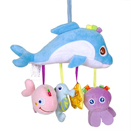 Badukongjian Baby Car Seat Stroller Toy/Crib Accessory, Cute Cloth Animmal Toy with Dolphin, Fish, Seahorse, Stars, Rattle Plush Hanging Bell Toy, Nursery Toys for Babies Ages 0 and Older