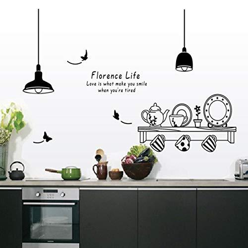 Florence Life Afneembare muursticker keuken restaurant theekopje kast decoratieve stickers muurschilderingen