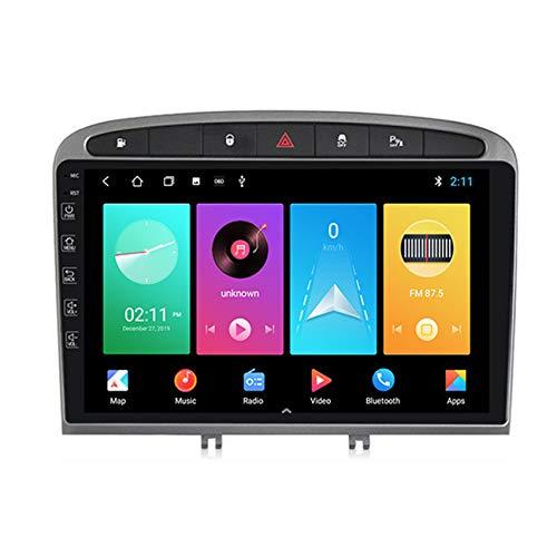 ADMLZQQ Android10.0 Car Radio Navegación GPS para Peugeot 408 2010-2016 2.5D IPS Pantalla táctil FM Radio Pantalla Dividida Enlace Espejo Controles del Volante+Cámara Trasera,Gris,M300 3+32G
