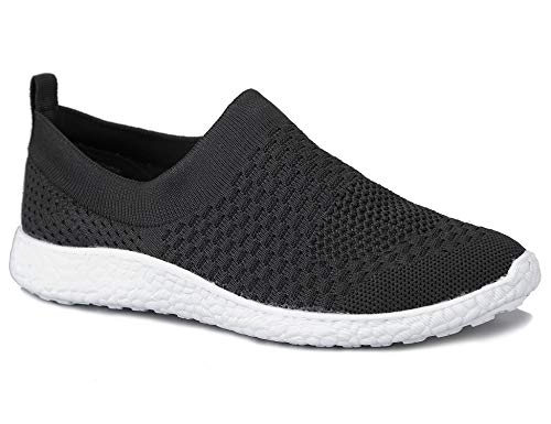 MaxMuxun Damen Freizeit Sportschuhe Ohne Schnürsenkel Sneaker Schwarz Größe 39 EU