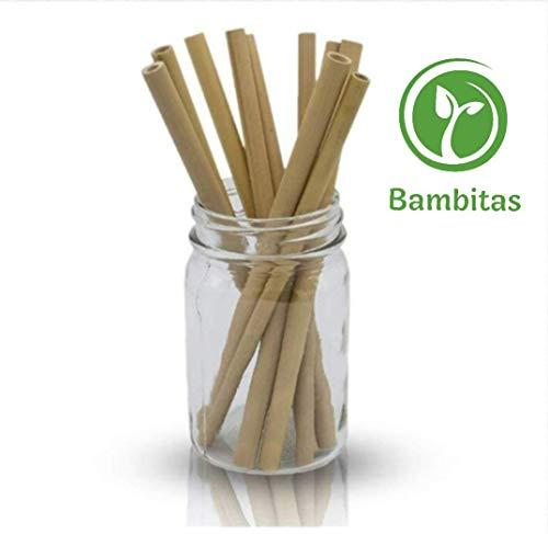 Pajitas de Bambú   Pajitas Reutilizables   Pack 10 Pajitas Biodegradables   Pajitas Cócteles   Pajitas Largas   Incluye Cepillo de Limpieza y Bolsa de Jute (19,5 cm)