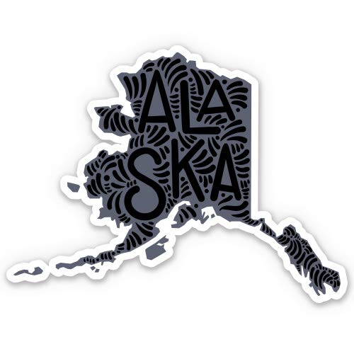 Alaska State Shape Cute Letters Native Local - 3' Vinyl Sticker - For Car Laptop I-Pad Phone Helmet Hard Hat - Waterproof Decal