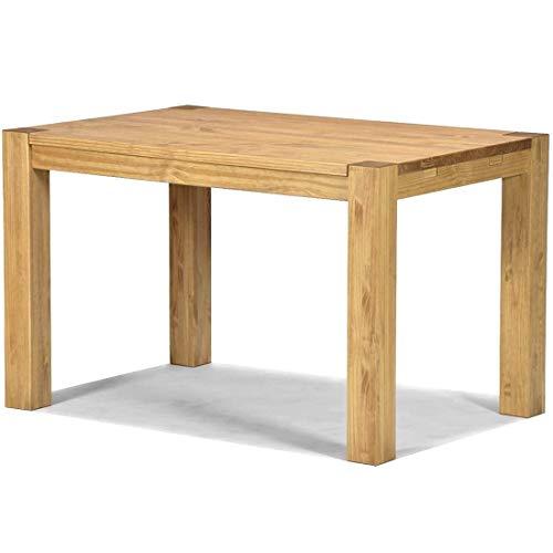 N/G Mesa de comedor de madera natural, 120 x 80 cm, Rio bonito tono miel claro, madera maciza de pino barnizada y encerada, para comedor, salón, cocina