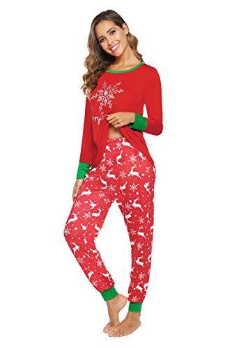 Rentier Schlafanzug Damen Lang Baumwolle Pyjama Winter Nachtwäsche Pyjama Sleepwear Pijama Rot L