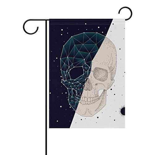 Creative Happy Halloween Skull Stars Garden Yard Flag Banner for Outside House Flower Pot Double Side Print Polyester 12 x 18 inches