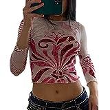 Camiseta de manga larga para mujer con estampado gráfico Y2k de Harajuku, estilo vintage, ajustada, D, S