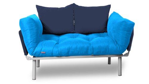 EasySitz Schlafsofa Sofa 2 Sitzer Kleines Couch 2-Sitzer Schlafsessel für Zweisitzer Personen Mein Futon Sitzen EIN Einer Farbauswahl (Türkis & Marineblau)