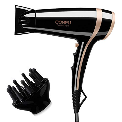 CONFU Hair Dryer with Diffuser, 2200W Professional Powerful Ionic Fast Dry...