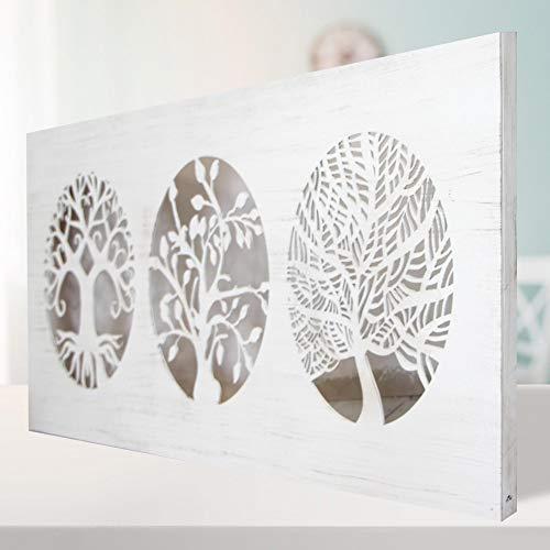 Cuadro De Pared Árboles De La Vida Calado, Fabricado Artesanalmente En España - Cuadro Decoración Modelo Mosaico 162 - (60x120 cm Blanco Envejecido) -para Salón, Dormitorio, Pasillo, Baño