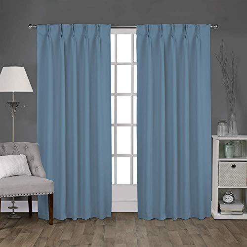 Magic Drapes Home décor 100% Polyester Double Pinch Pleated Blackout Window Curtain Panel & Drapes and Thermal Insulation for Bedroom Living Room (52x84, Aqua Blue)