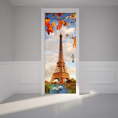 lili-nice Mur Créatif Bricolage 3D par des Autocollants Paris Tour du Lac des Cygnes Papier Peint Salon Moderne Restaurant Home Decor Stickers 2 Pièces/Set 77 * 200Cm