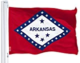 G128 – Arkansas State Flag   3x5 feet   Printed 150D – Indoor/Outdoor, Vibrant Colors, Brass Grommets, Quality Polyester, Much Thicker More Durable Than 100D 75D Polyester