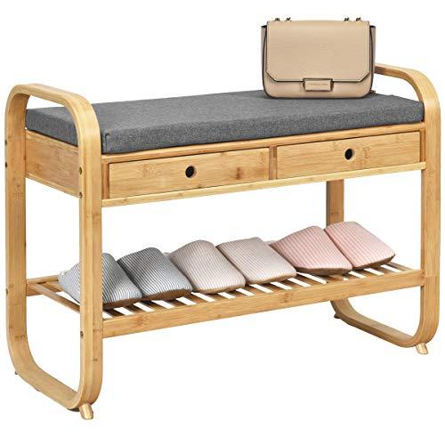 Giantex Banco zapatero con 2 cajones, zapatero de bambú con cojín, banco para zapatos de 2 niveles, zapatero para pasillo, salón o dormitorio