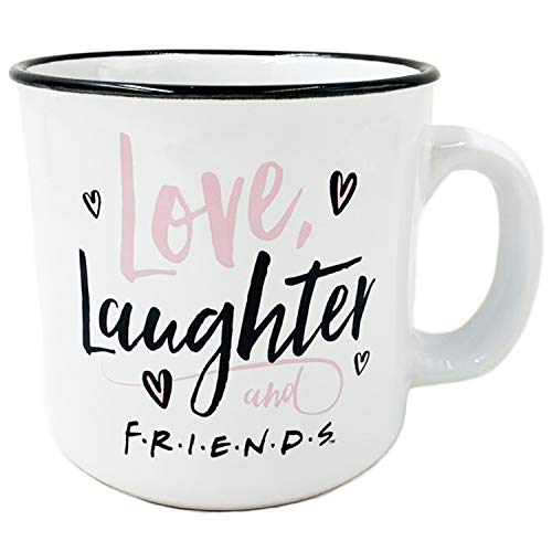 Silver Buffalo Taza de café con texto en inglés 'Friends Love Laughter and Friends Heart (591 ml), diseño de camper