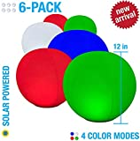6-PK Floating Pool Lights, 12' Globes, 4 Color Settings, Solar LED Balls, Inflatable, Waterproof, Floatable, Hangable, Night Mood Lights-Sphere Decorations-Pools-Backyard-Lawn-Pathways-Parties-Events