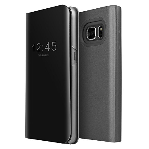 AICase Galaxy S7 Edge Case, Luxury Translucent View Window Sleep/Wake Up Function Cover Mirror Screen Flip Electroplate Plating Stand Full Body Protective Case for Samsung Galaxy S7 Edge (Black)