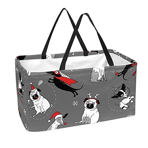 Cesta De La Compra Perro De Navidad Cesta De Transporte Impresión Cesta De Almacenamiento Multifuncional Con Asa 56x29x32 cm