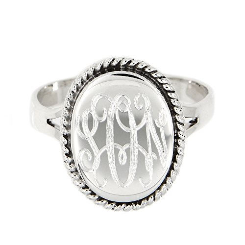LGU Sterling Silver Polished Signet Oxidized Rope Edge Oval Ring with Engraving