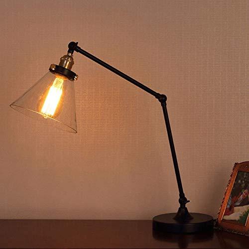 LTAYZ Lámpara Escritorio Lámpara Americana Retro Industrial Viento Brazo Largo lámpara Interruptor Interruptor Creativo Largo mecánico Brazo Metal Mesa lámpara de Vidrio lámpara de Mesa lámpara