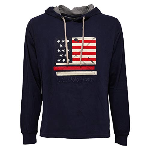 8538AA Felpa LEGGERA Uomo U.S. POLO ASSN.Blue Light Cotton Hoodie Sweatshirt Man [L]
