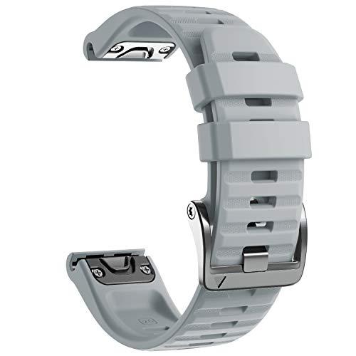 NotoCity Cinturino per Garmin Fenix 6X/Fenix 6X PRO/Fenix 3/Fenix 3 HR/5X/Fenix 5X Plus/, 26mm Cinturino di Ricambio in Silicone, Braccialetto Quick-Fit, Colori Multipli. (Grigio)