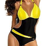 Set de bikini Mujer de una pieza traje de baño traje de baño traje de baño presiona hacia arriba for mujer nadar desgaste en v cuello halter traje de baño ropa de playa