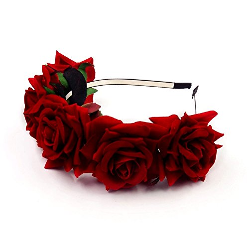 JZK® Rot Rose Damen Mädchen Garland Blumen Krone Kranz Tiara Blumen Haarreif Haarband Haar Band Kopfband Blumenstirnband für Hochzeit Braut Brautjungfer Party Festival etc. (Rot)