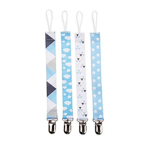 Alicer Schnullerband Baby Schnullerketten,4er-Pack Schnullerhalter für Jungen und Mädchen, passend für die meisten Schnullerarten und Baby-Greiflinge