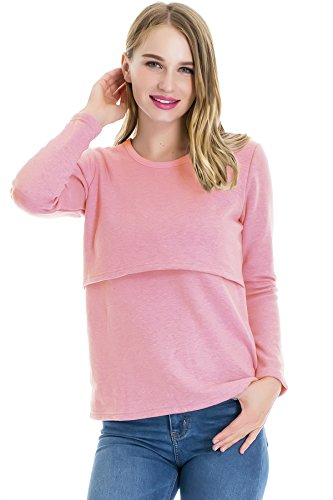 Smallshow Women's Fleece Long Sleeve Maternity Nursing Tops T-Shirt Size L