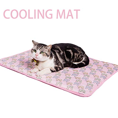 NACOCO Pet Cooling Mat Cat Dog Cushion Pad Summer Cool Down Comfortable Soft for Pets and Adults (L, Pink)