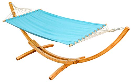 AMANKA XXL Hammock for Two with Wooden Designer Frame Sunlounger Rod Hammock Wood Rack Stand Blue