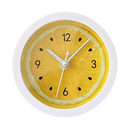SMKAC Reloj de Pared Zero New Colorful Shape Shape Mini Quartz Desktop Plastic Needle Alarm Clock, Amarillo