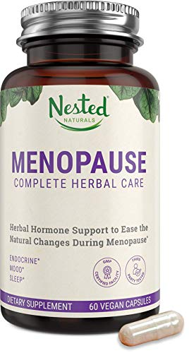 Nested Natural Menopause Complete Herbal Care Supplement for Women – Support for Mood Swings, Vaginal Dryness & Hot Flashes - Natural Black Cohosh Extract & Dong Quai Root One A Day Menopause Relief