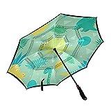 ISAOA Jungle and Dinosaurs Reverse Golf Umbrella Auto Open Wind Impermeable Gran Paraguas Plegable con Manga de Transporte