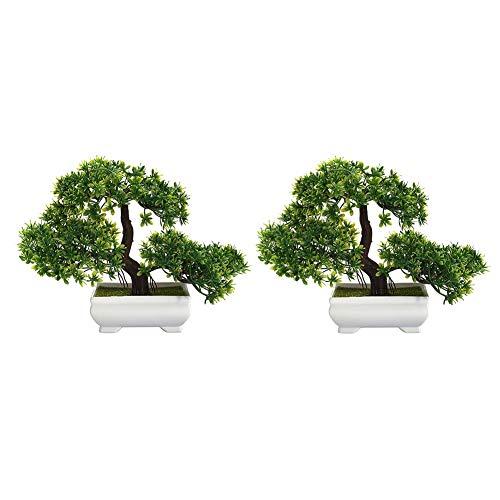 Zunbo Bonsai Pflanze, Kunstpflanze Künstlicher Bonsai-Baum Kiefer Kunststoff für Büro/Fensterbank/Hof (Grün) 2Pcs