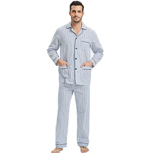 Men's Long Sleeve Cotton Pajamas Broadcloth Top & Pants PJS Button-Down Sleepwear Lounge Set