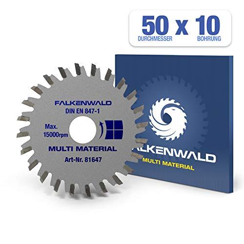FALKENWALD ® Kreissägeblatt 50 x 10 mm - Ideal für Holz, Metall & Alu - kompatibel mit Akku Langhalswinkelschleifer LHW von PROXXON - Universal Sägeblatt aus hochwertigem Hartmetall